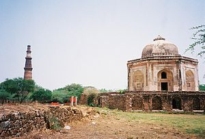 Metcalfe House -  Metcalfe's summer retreat 'Dilkhusha' as on date in ruins with Qutub Minar in the picture