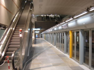 Turin Metro - Station Fermi during the 2006 Winter Olympics.