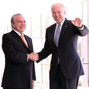 Michel Temer - Temer with former U.S. Vice President Joe Biden at the Itamaraty Palace in Brasília, 11 October 2013.