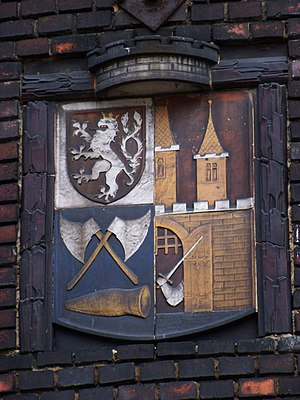 Vršovice - Coat of arms of Vršovice at the water tower