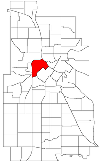 Location of North Loop within the U.S. city of Minneapolis
