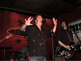 Mojo Nixon (left) at Continental Club in Austin, Texas. Photo – Ron Baker (2006).