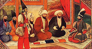 Mullahs in the royal presence. The painting style is markedly Qajari.