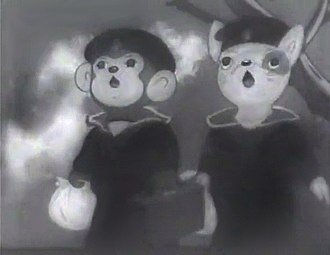 Anime - A frame from Momotaro's Divine Sea Warriors (1944), the first feature-length anime film
