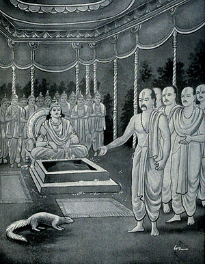 Ashvamedhika Parva - Aswamedhika Parva has many fables and tales. One of them is the fable of mongoose at the time of Aswamedhika yajna (shown).