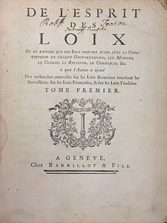 <i>The Spirit of the Laws</i> 1748 treatise on political theory first published anonymously by Charles-Louis de Secondat, baron de Montesquieu