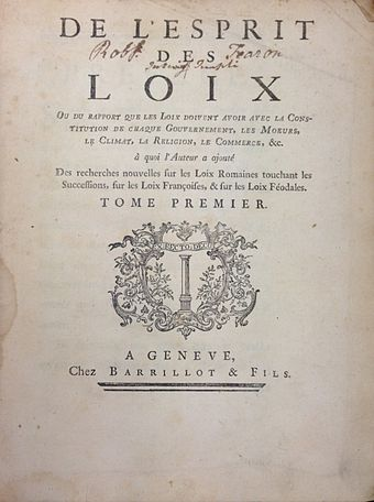 The title page of the first volume of Montesquieu's De l'Esprit des loix (1st ed., 1748) Montesquieu, De l'Esprit des loix (1st ed, 1748, vol 1, title page).jpg