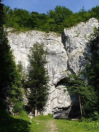 Býčí skála Cave - The front rock wall