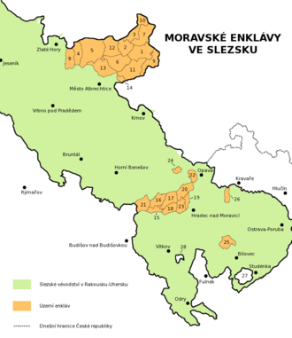 Moravian enclaves in Silesia - Moravian enclaves in Silesia (in orange)