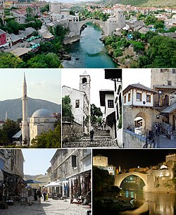Mostar, Top:Neretva River and Mostar Old Bridge, Middle left:Koski Mehmed Pasina Moscue, Center:Mostar Clock Tower, Middle right:A entrance of old bridge, Bottom left:Bazzar in Kujundziluk Street, Bottom right:Night view of old bridge and Kujundziluk area