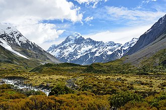 Southern Alps -  View of Mount Cook, the highest peak, from the Hooker Valley Track
