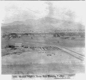 Diablo Valley - Mount Diablo, photographed from San Ramon Valley in 1866.