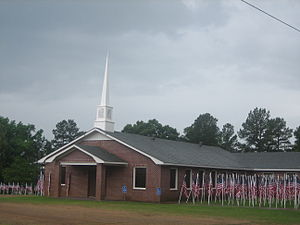 Shongaloo, Louisiana - Mt. Paran Baptist Church is lined with flags in observance of Memorial Day 2009.