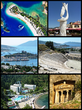 Top:Aerial view of Ölüdeniz beach resort, A monument in Marmaris Dolphin Park, Middle:Bodrum Castle, Halicarnassus Theater, Bottom:Turunç rerort area, Amyntas Lycian Tomb (all item from left to right)