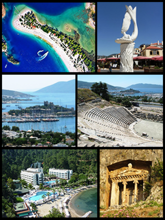 Muğla - Top left: Ölüdeniz, Top right: A sculpture in Marmaris, Middle left: Castle of St. Peter in Bodrum, Middle right: Halicarnassus Theatre, Bottom left: Otel Turunç, Bottom right: Tomb of Amyntas.