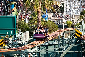 Goofy's Sky School - One of the Mullholland Madness cars navigating the track.