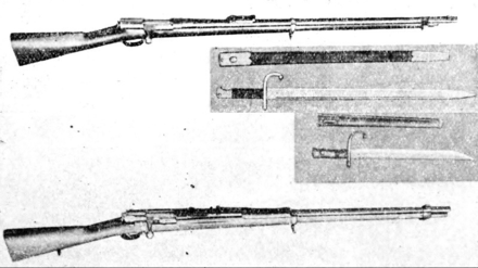 Type 13(Top) & Type 22(bottom) Murata rifle. Murata rifle was the first indigenously produced Japanese service rifle adopted in 1880. MurataTR.png