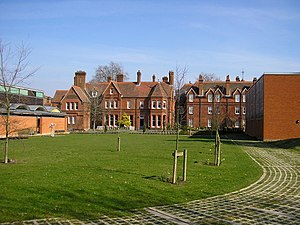 Museum of English Rural Life - The rear garden of the Museum of English Rural Life, with the original East Thorpe House in the centre and the new block to the left