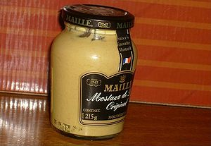 Mustard condiment. A french recipe containing ...