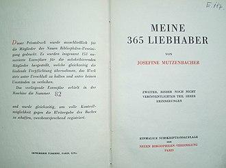 Josephine Mutzenbacher - Volume 2: Meine 365 Liebhaber. First edition (1925)