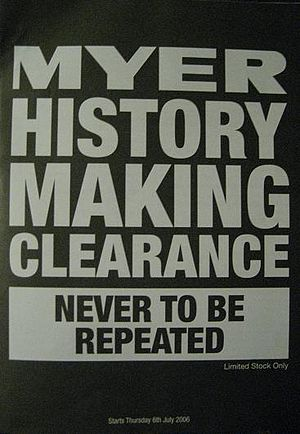 Myer - Flyer for the History Making Clearance distributed to customers