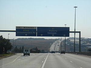 Ben Schoeman Freeway - The Ben Schoeman Highway heading in the direction of Pretoria