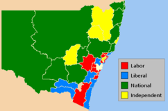 Results of the 2007 New South Wales state election showing the state electoral districts