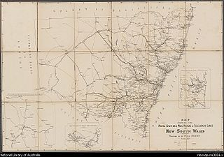 NSW Telegraph Routes (in blue) October 1885