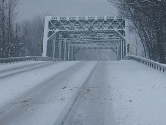 New York State Route 59 - The bridge carrying NY 59 over the Norfolk Southern Railway near its western terminus in Hillburn on a snowy day.