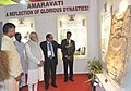 Narendra Modi visiting the exhibition on 'Amaravathi'- the new Capital city of Andhra Pradesh. The Chief Minister of Andhra Pradesh, Shri N. Chandrababu Naidu and the Chief Minister of Telangana.jpg