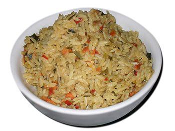 Indonesian dish of rice (Nasi Goreng)