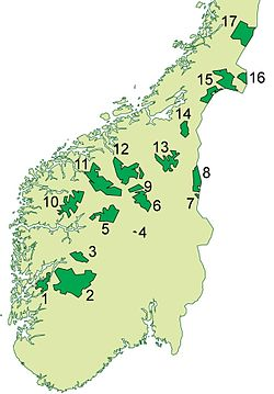 Dovre nationalpark - Kort over nationalparker i Syd-Norge.  Denne er  nr 9