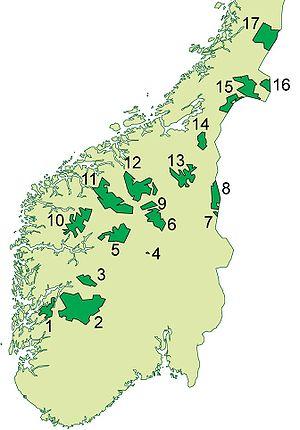 Jostedalsbreen National Park - Image: Nasjonalparker Syd Norge