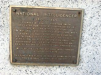 National Intelligencer - National Intelligencer plaque at original location in Washington, DC