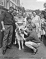 Nederlandse Tour de Francerenners in Mulhouse Bram Kool op een hond, links Buchl, Bestanddeelnr 910-4685.jpg