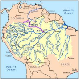 Map showing the Rio Negro in the Amazon River basin.