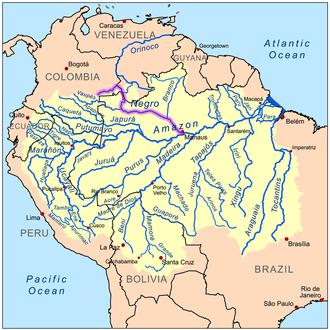 Rio Negro (Amazon) - Image: Negroamazonrivermap