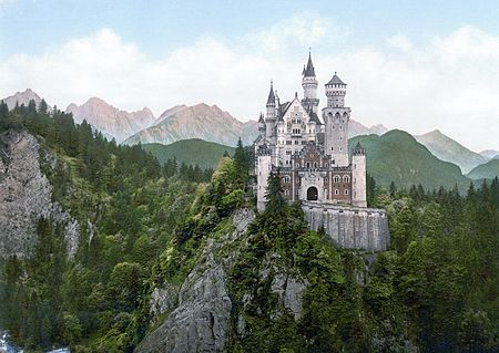 An 1890s photochrom print of Castle Neuschwanstein. This castle was designed and constructed during the reign of Ludwig II and remains a major tourist attraction in Bavaria. Neuschwanstein Castle LOC print.jpg
