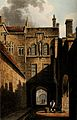 New College, Oxford; entrance gate. Coloured aquatint by J. Wellcome V0014138.jpg