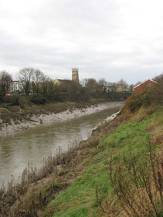 New Cut, Bristol - The river Avon, in the New Cut, looking west towards Southville and St Pauls church, Bedminster