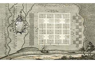 Benjamin Ingham - 1736 Map of New Ebenezer drawn by Philipp Georg Friedrich von Reck.  This Salzburger community was located about 15 miles upriver from Savanna, Georgia.