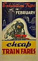 New Zealand Railway poster - Exhibition Trips in February Cheap Train Fares 1940 (10468997626).jpg