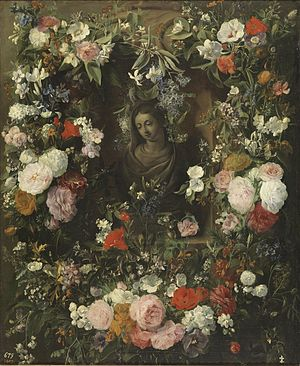 Nicolaes van Verendael - Garland surrounding the Virgin Mary