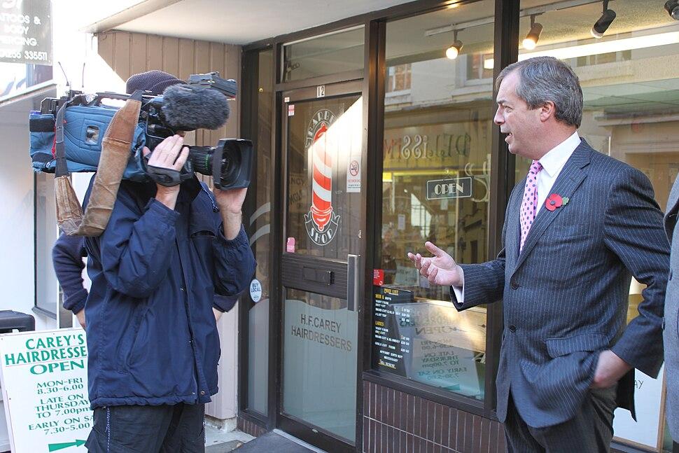 Nigel Farage talking to the media
