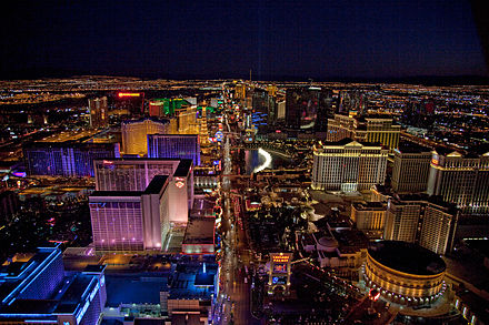 The Las Vegas Strip, primarily located in Paradise. Night aerial view, Las Vegas, Nevada, 04649u.jpg