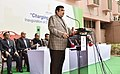 Nitin Gadkari addressing at the inauguration of the Two Electric Vehicle charging points (fast and slow charging), at NITI Aayog premises, in New Delhi.jpg