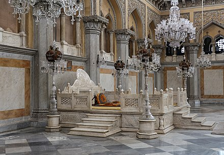 The Nizam's of Hyderabad throne in Chowmahalla Palace Nizam's of Hyderabad Throne.jpg