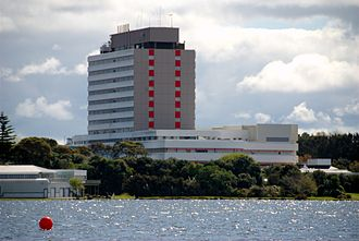 North Shore Hospital - View of North Shore Hospital across the adjacent Lake Pupuke
