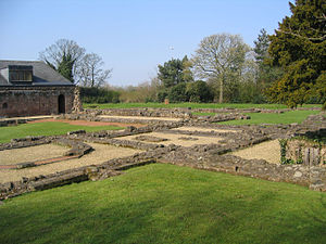 Norton Priory - Foundations of the monastic buildings and the back of the museum