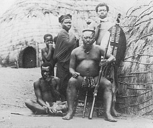 Ntshingwayo Khoza - One of only two photographs known to exist of Ntshingwayo kaMahole. Taken at his kraal during the First Anglo-Zulu War of 1879.